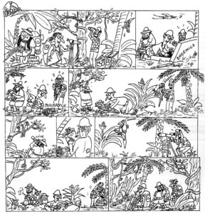The birdwatchers. Armonía Guajojó members bulletin, Bolivia 2005. This was one of my first comic strips.